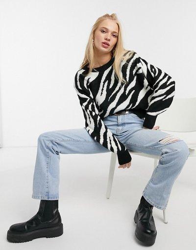 Nero donna Maglione zebrato nero - Mango