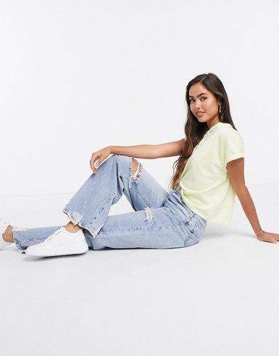 T-shirt Giallo donna shirt squadrata in cotone organico giallo limone - Mango - T