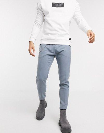 Blu uomo Pantaloni corti affusolati blu con catena - Mauvais