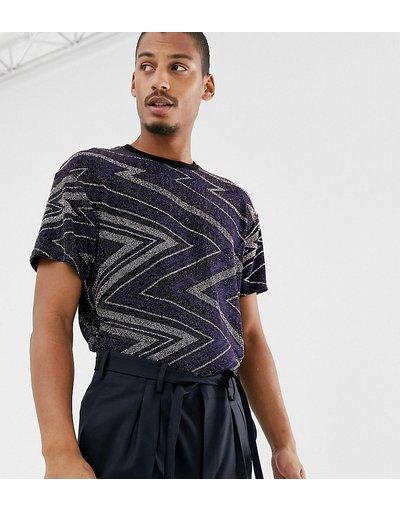 T-shirt Navy uomo shirt stile vintage con bordi a contrasto e motivo a spina di pesce glitterato - Milk It - Navy - T