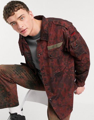 Rosso uomo Giacca mimetica stile militare rossa - Milk It Vintage - Rosso