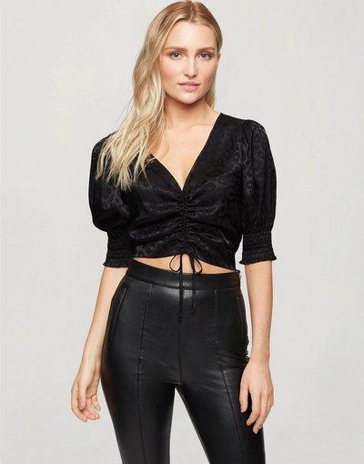 Camicia Nero donna Blusa nera arricciata sul davanti - Miss Selfridge - Nero