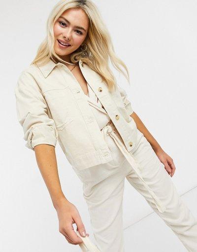 Bianco donna Camicia giacca in cotone crema con bottoni tartarugati - Miss Selfridge - Bianco