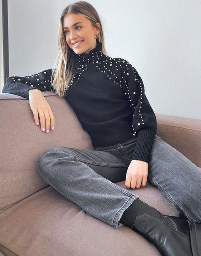 Nero donna Maglione nero con perle - Miss Selfridge