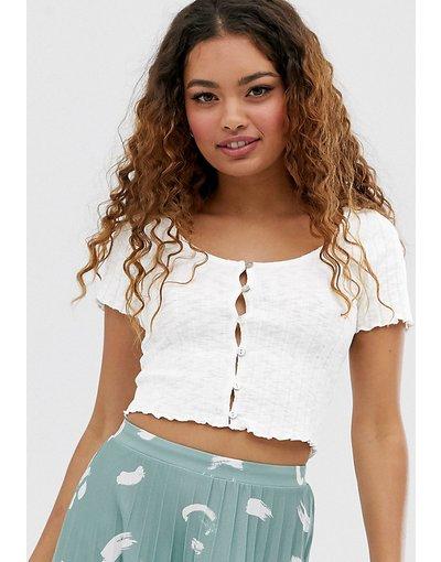T-shirt Bianco donna shirt a coste con bottoni bianca - Miss Selfridge Petite - Bianco - T