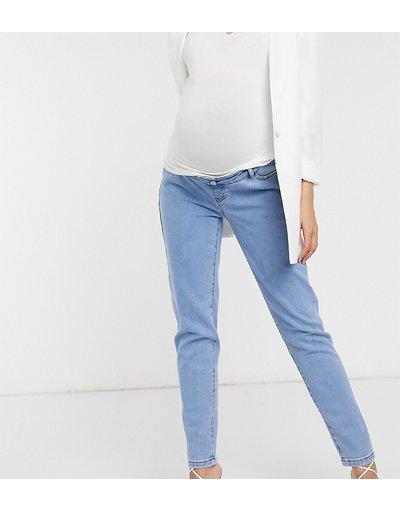 Maternita Blu donna Jeans elasticizzati con fascia per il pancione blu - Missgudied Maternity - Riot