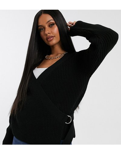 Nero donna Cardigan a portafoglio nero con cintura con anello a D - Missguided