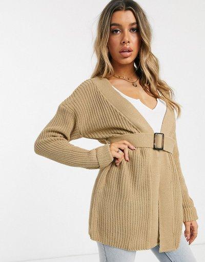 Beige donna Cardigan beige con cintura - Missguided