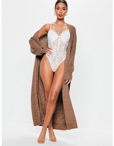 Marrone donna Cardigan lungo color moka con cintura - Missguided - Marrone