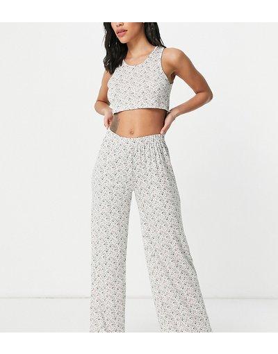 Pigiami Bianco donna Completo pigiama con crop top e pantaloni a fiorellini - Missguided - Bianco