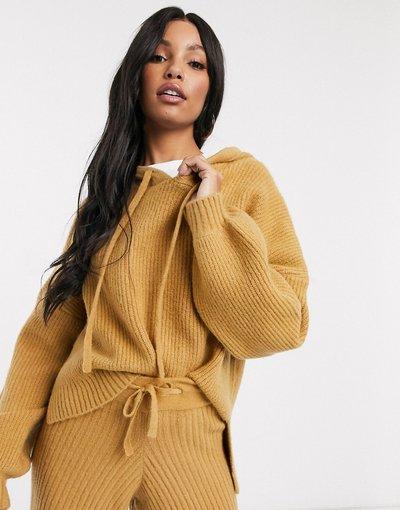 Beige donna Felpa con cappuccio in maglia color cammello coordinata - Missguided - Beige