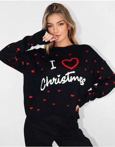 Nero donna I Love Christmas - Maglione nero - Missguided