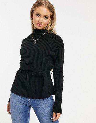 Nero donna Maglione accollato nero con cintura - Missguided