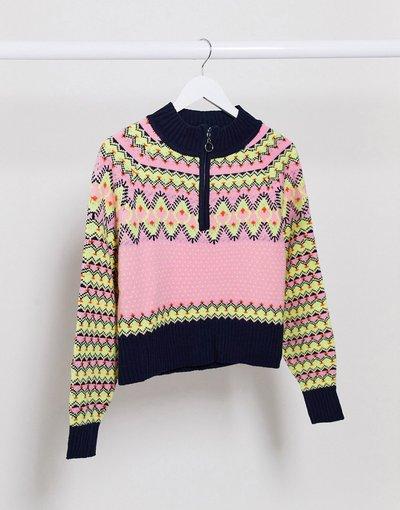 Multicolore donna Maglione Fair Isle con zip sul davanti multi - Missguided - Multicolore