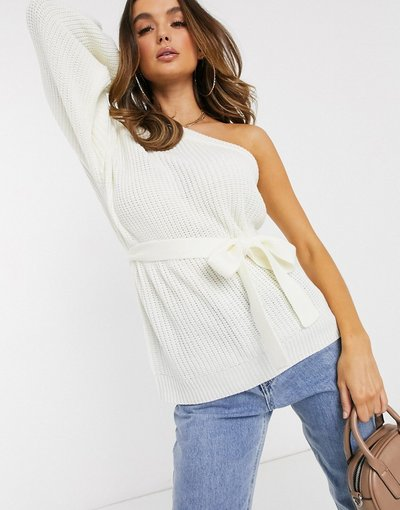 Crema donna Maglione monospalla con cintura e manica a palloncino crema - Missguided