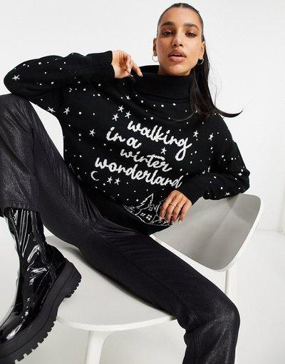 Nero donna Maglione nero con scrittaWinter Wonderland- Missguided