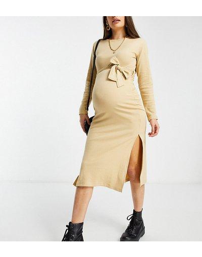 Maternita Marrone donna Vestito color talpa con gonna al polpaccio e cintura - Missguided Maternity - Marrone