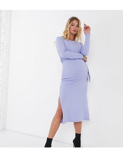 Maternita Blu donna Vestito midi con spacco laterale e cintura blu - Missguided Maternity
