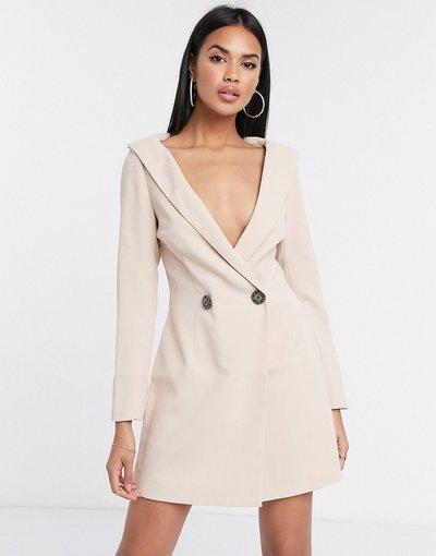 Pietra donna Vestito blazer decorato color pietra con spalle scoperte - Peace + Love - Missguided