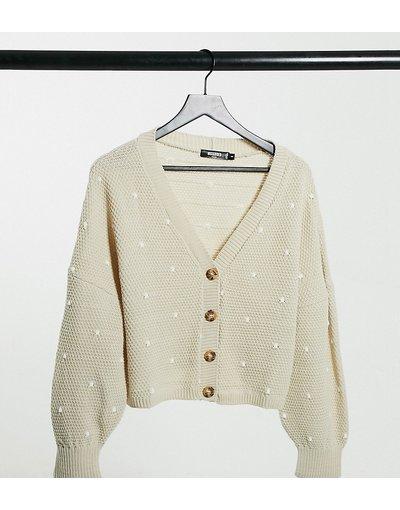 Grigio pietra donna Cardigan con maniche a sbuffo e motivo a pois color grigio pietra - Missguided Petite