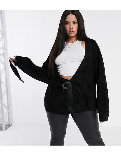 Nero donna Cardigan con maniche a palloncino e fibbia nero - Missguided Plus