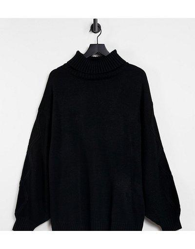 Nero donna Maglione con collo alto nero con maniche lavorate a trecce - Missguided Plus
