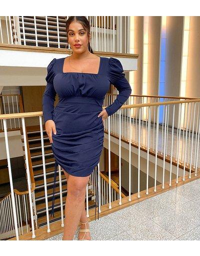 Blu navy donna Vestito fasciante blu navy con arricciature laterali - Missguided Plus