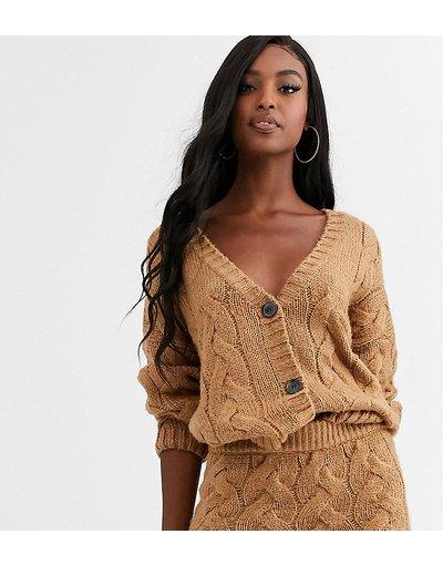 Beige donna Cardigan in maglia a trecce color cammello in coordinato - Missguided Tall - Beige