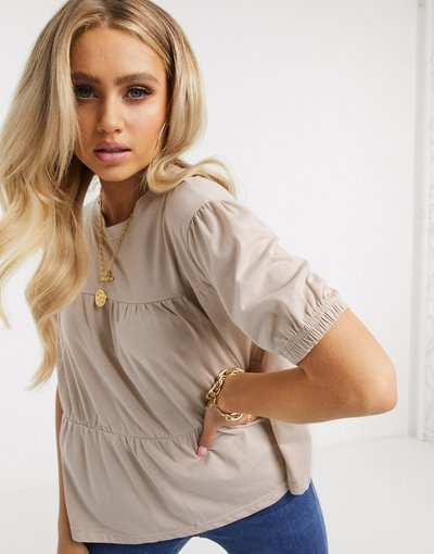 T-shirt Beige donna Top grembiule color sabbia - Missguided - Beige
