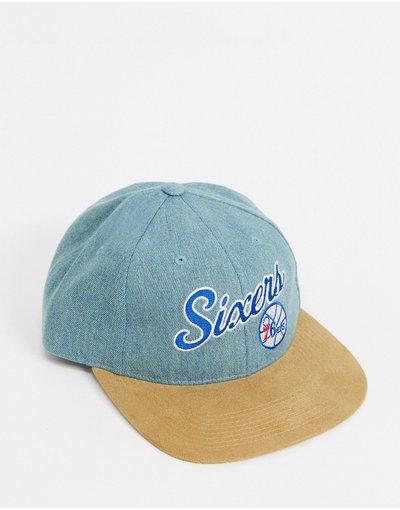 Cappello Blu navy uomo NBA Philadelphia 76ers - Cappellino di jeans blu - Mitchell&Ness - Blu navy