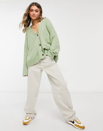 Verde donna Cardigan a maglia grossa verde salvia - Bobbi - Monki