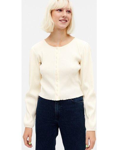 Bianco donna Cardigan in maglia con maniche voluminose bianco sporco - Monki