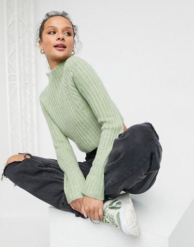 Verde donna Maglione a coste verde salvia - Celine - Monki