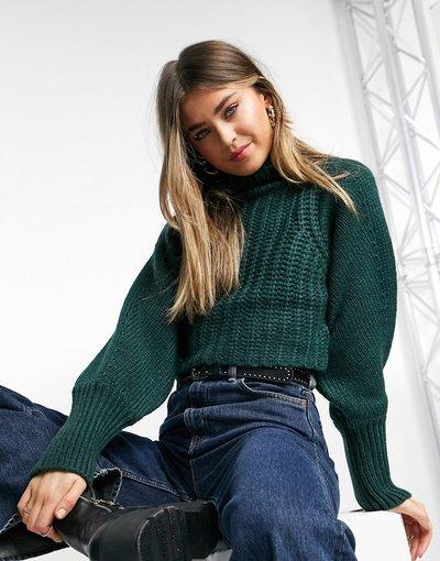 Maglione lavorato in maglia spessa, colore verde scuro - Monki - Li  donna Verde