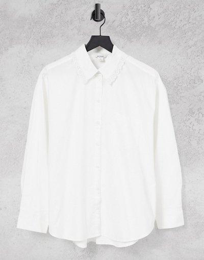 Camicia Bianco donna Camicia oversize bianca con colletto - Monki - Meja - Bianco