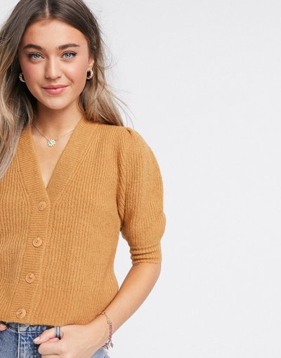 Marrone donna Cardigan soffice a coste e a maniche corte beige - Puffy - Marrone - Monki