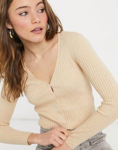Oro donna Cardigan con scollo a V color cammello glitterato - Silja - Monki - Oro