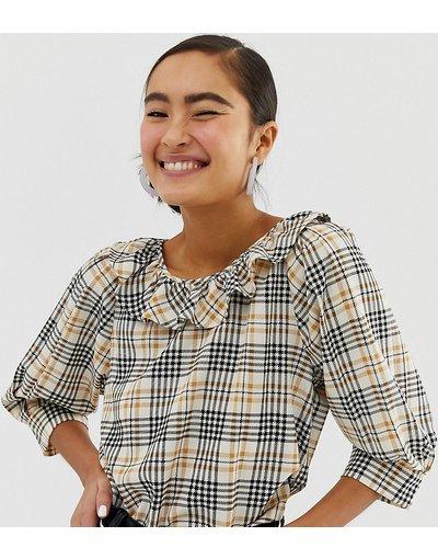 Camicia Beige donna Top con maniche a sbuffo a quadri beige - Monki