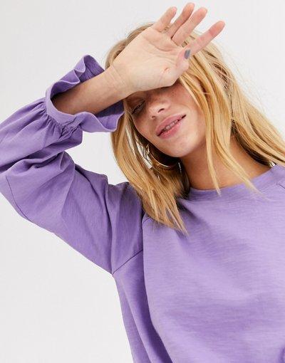 T-shirt Viola donna Top in jersey lilla con maniche a palloncino - Monki - Viola