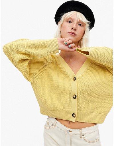 Giallo donna Cardigan in cotone organico gialla - Monki - Zeta - Giallo