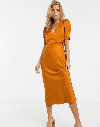 Arancione donna Vestito midi in raso con zucche - Moon River - Arancione