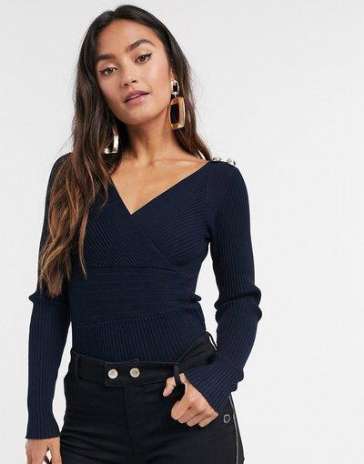 Navy donna Top slim a portafoglio blu navy in maglia a coste con maniche lunghe e bottoni sulle spalle - Morgan
