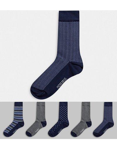 Calze Blu navy uomo Confezione da 5 paia di calzini blu navy - Moss London