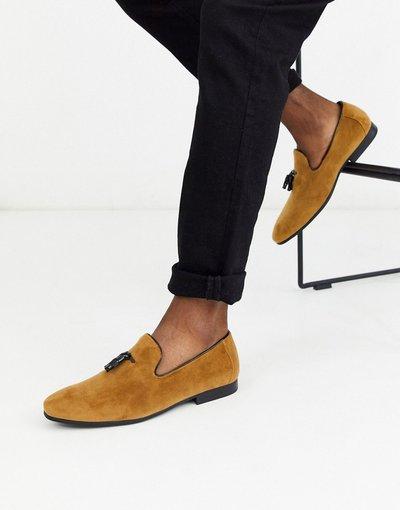 Scarpa elegante Cuoio uomo Mocassini in camoscio color cuoio con nappe - Moss London