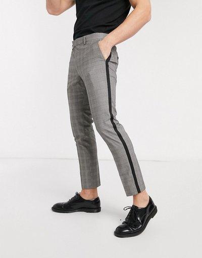 Nero uomo Pantaloni corti a quadri con riga laterale nera - Moss London - Nero