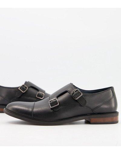 Scarpa elegante Nero uomo Scarpe in pelle nera con fibbie - Moss London - Nero