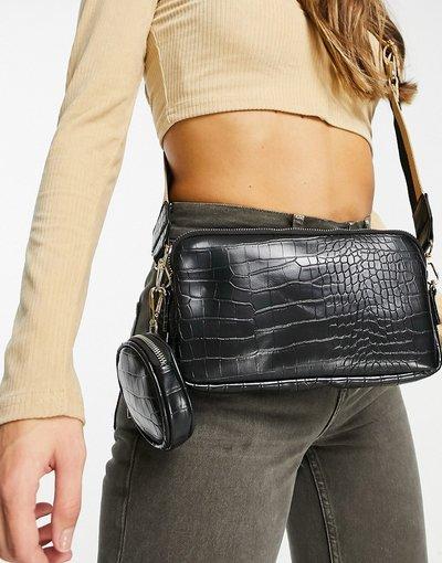 Borsa Nero donna Borsa a tracolla con borsellino rimovibile colore nero coccodrillo - My Accessories London