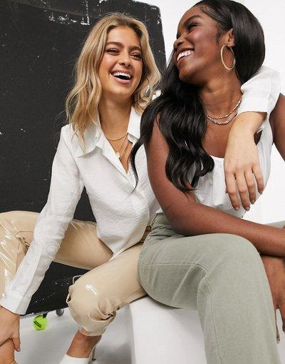 Camicia Bianco donna Blusa con colletto largo bianca - Bianco - KD - NA