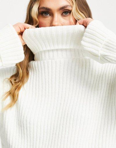 Bianco donna Maglione con collo alto in maglia a coste con spacchi laterali bianco - KD - NA