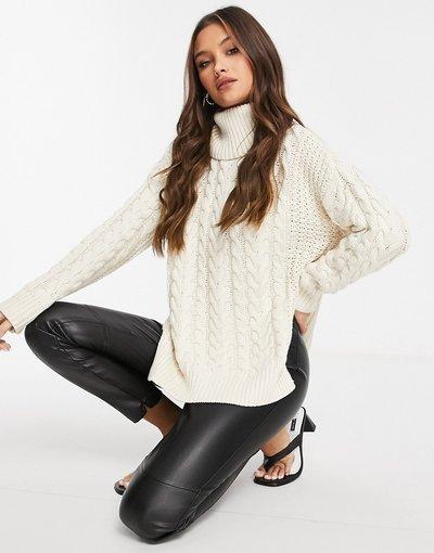 Bianco donna Maglione oversize accollato lavorato a maglia a trecce bianco sporco - KD - NA